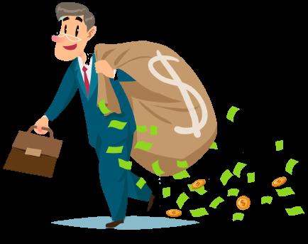 Mand med pengesæk investering 2021